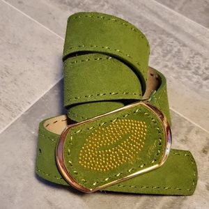 Green Suede Leather w/Gold Lips Buckle Belt